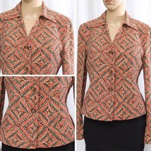 JONES NEW YORK Orange Brown Silk Jacket Blazer Cardigan Women's Size 4 C... - $14.32