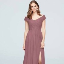 David's Bridal Sz 8 Long Mesh Dress With Cowl Back Detail Quartz $129 - $90.99
