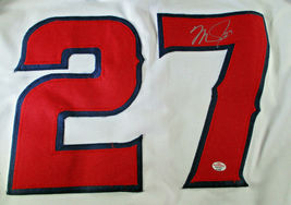MIKE TROUT / AUTOGRAPHED LOS ANGELES ANGELS RED CUSTOM BASEBALL JERSEY / COA image 3