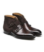 Handmade Brown Suede And Leather Double Monk Ankle Boot, Men's Brown Chu... - $179.97+