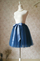 Navy Midi Tulle Skirt Women Girl Tulle Tutu Skirts with Bow Plus Size image 2