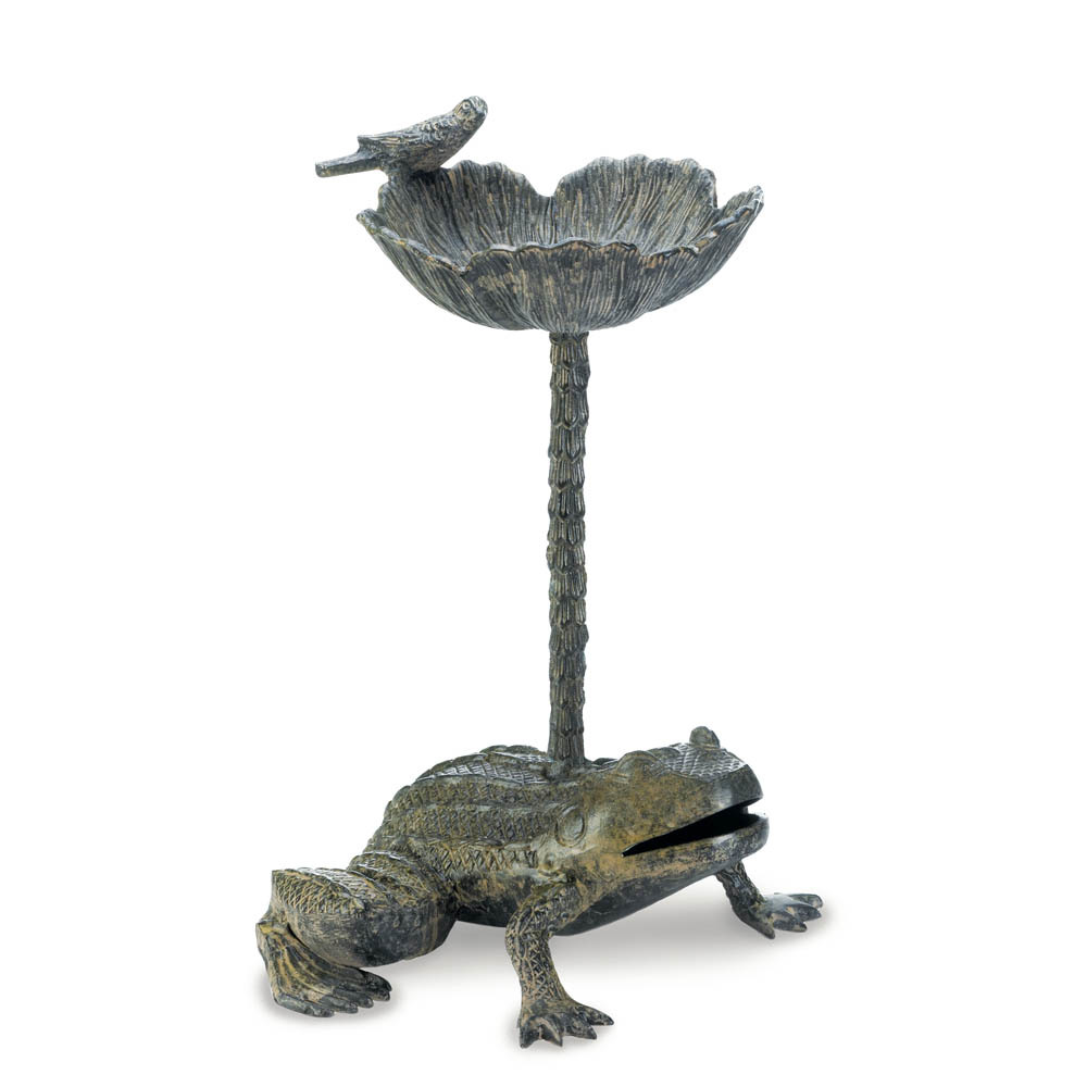 Ornate Metal Bird Bath, Aluminum Metal Gray Outdoor Bird Bath Parakeet