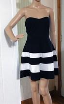 Charlotte Russe Black & White Striped Strapless Mini Dress - Size M - Poly Blend - $15.88
