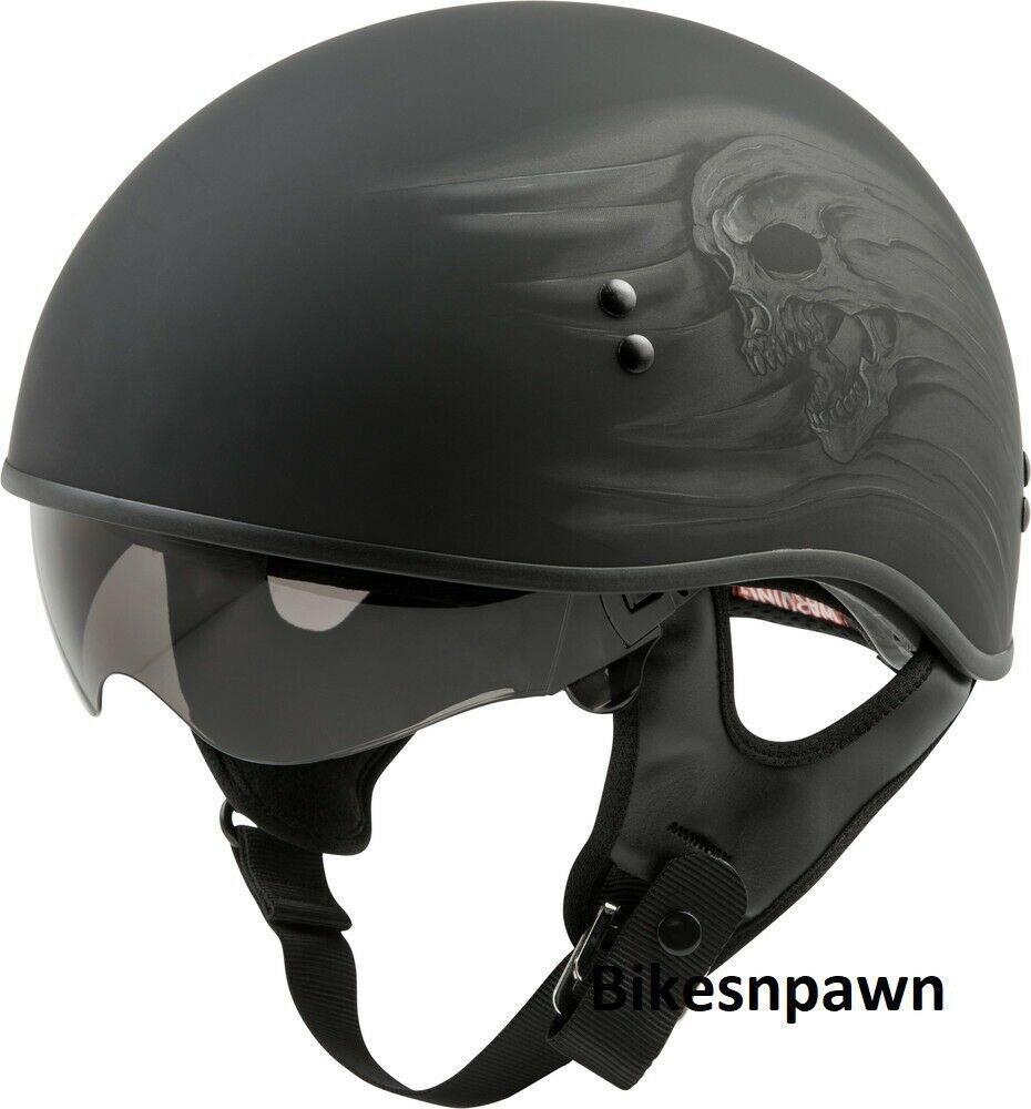 New M Matt Black Gmax Ritual GM-65 DOT Approved Half Motorcycle Helmet