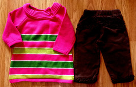 Girl's Size 6-9 M Months 2 Piece Pink/ Green Crazy 8 Sweater Dress & Bro... - $15.00