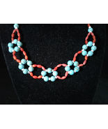 "18"" Beaded Necklace, Turquoise, Red Coral, Shell, Handmade, #z472 - $80.00"
