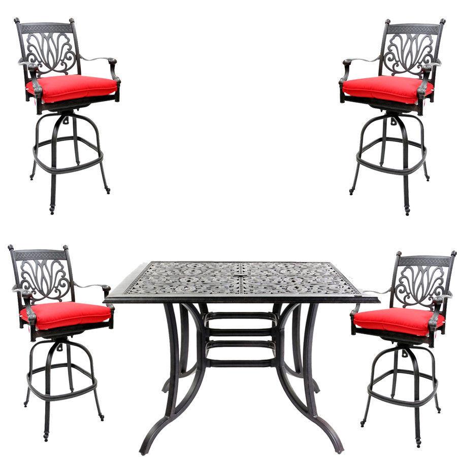 5 piece bar set outdoor cast aluminum swivel stools and table Desert Bronze.