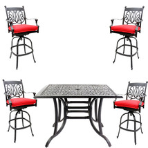5 piece bar set outdoor cast aluminum swivel stools and table Desert Bronze. image 1