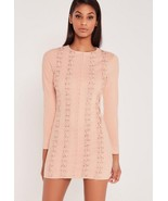 NWT Missguided x Carli Bybel Faux Suede Eyelet Bodycon Dress in Blush 12... - $31.49