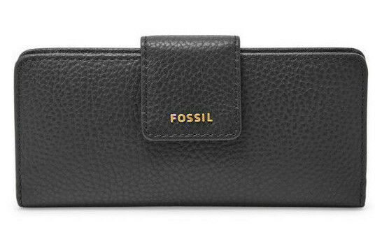 NWT Fossil Madison Slim Clutch Black Leather Wallet SWL1574001 - 723764500752