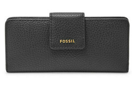 NWT Fossil Madison Slim Clutch Black Leather Wallet SWL1574001 - 7237645... - $34.99