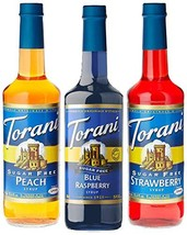 Torani Sugar Free Syrup Fruit Flavors 3 Pack, Blue Raspberry, Peach, Strawberry