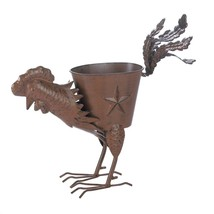 Metal Decorative Planter, Outdoor Rustic Strutting Rooster Wrought Iron ... - $26.99