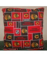 Blackhawks Pillow NHL Chicago Hockey Black Hawks Handmade In USA - $11.96