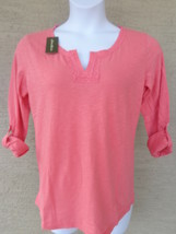 NWT Eddie Bauer 3/4 button tab sleeve cotton slub top /blouse S  coral Msrp $40. - $9.49