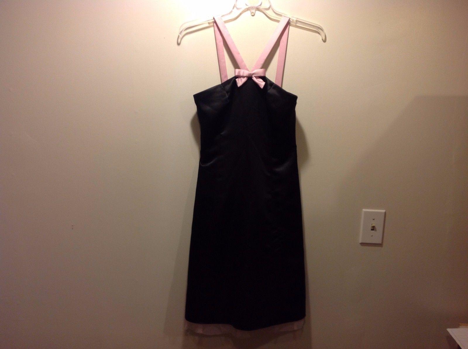 Jessica McClintok Halter Style Midi Blk Dress w Pink Straps/Bow Sz 7/8