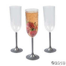 Fun Express Silver Stem Champagne Glasses - $17.86