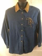Koret City Blues LS Button Denim Blue Shirt Size XL Corduroy Collar Western - $18.76