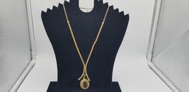 Vintage Signed Sarah Cov Gold Tone Link To Snake Necklace W/ Amber Penda... - $19.32
