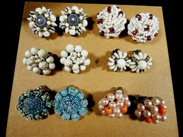 Lot  of 6 W. Germany & Japan Signed Beaded Cluster Glass Pearl clip on earrings  - $61.38