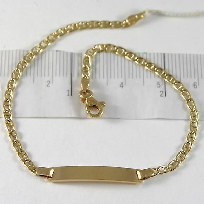 Yellow Gold Bracelet 750 18k, Navy Grid and Plate for Engraving, 19 cm