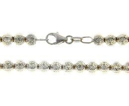 """18K WHITE GOLD BALLS CHAIN WORKED SPHERES 4mm DIAMOND CUT, FACETED 18"""", 45cm image 4"""