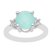 Single Stone Aqua Chalcedony Round Cut Solitaire Sterling Silver Wedding... - $27.26
