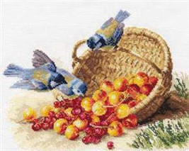 Cross Stitch Kit Hand Embroidery Animals Birds Chickadees and Sweet Cher... - $30.90