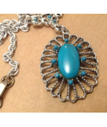 """22"""" Silver Tone Necklace Chain 1.5"""" Faux Turquoise Pendant Western Style - $8.50"""