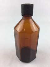 """Vintage Pharmacy Collectible Octagonal Medicine Bottle 7.25"""" H 3"""" W Brown - $29.70"""