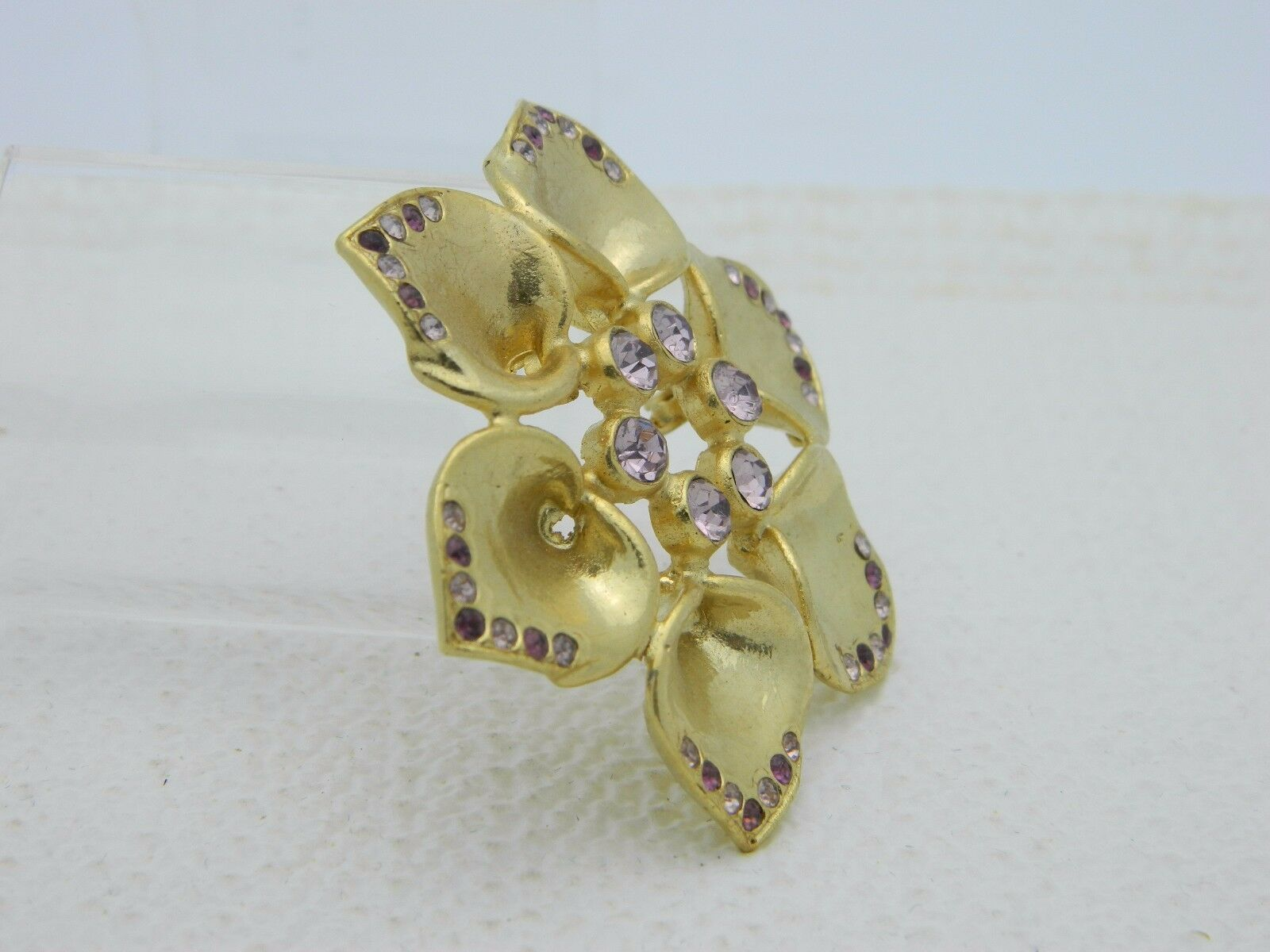Vintage Gold Tone Purple Rhinestone Flower Pin Brooch image 2