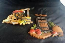 1978 Homco Home Interiors Farmhouse Kitchen Decor Corn Apples USA Cast A... - $27.12