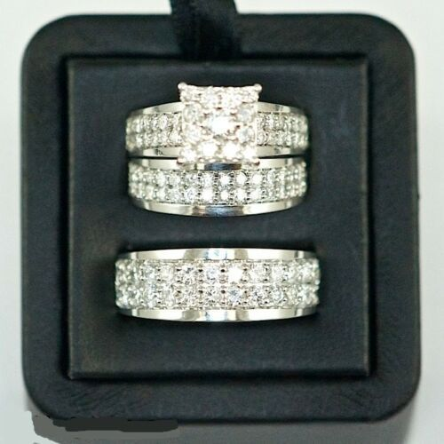 Primary image for 14k White Gold Finish 925 Solid Silver Mens Womens Wedding Diamond Trio Ring Set