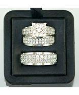 14k White Gold Finish 925 Solid Silver Mens Womens Wedding Diamond Trio ... - $158.13