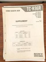 Sony TC-K96R Cassette Service Manual Supplement 2*Original* - $9.47