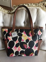 化石Mimi Shopper Brown Pebbled Leather/ Black Floral Tote PVC NWT Ret... - $59.99