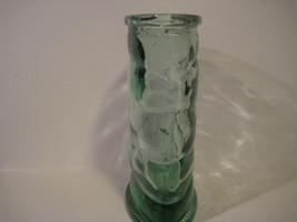 Original Vintage Heavy Green GLASS VASE Carnival Glass 8X6.5X3 - $19.27
