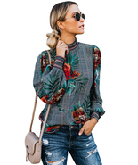 Gray Plaid Tropical Print Smocked Long Sleeve Blouse  - $22.08