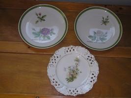 Vintage Lot of Hutschenreuther Germany Pink & White Rose Botanical Flower Plates - $12.19