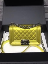 AUTHENTIC CHANEL METALLIC YELLOW QUILTED PATENT LEATHER SMALL BOY FLAP BAG GHW