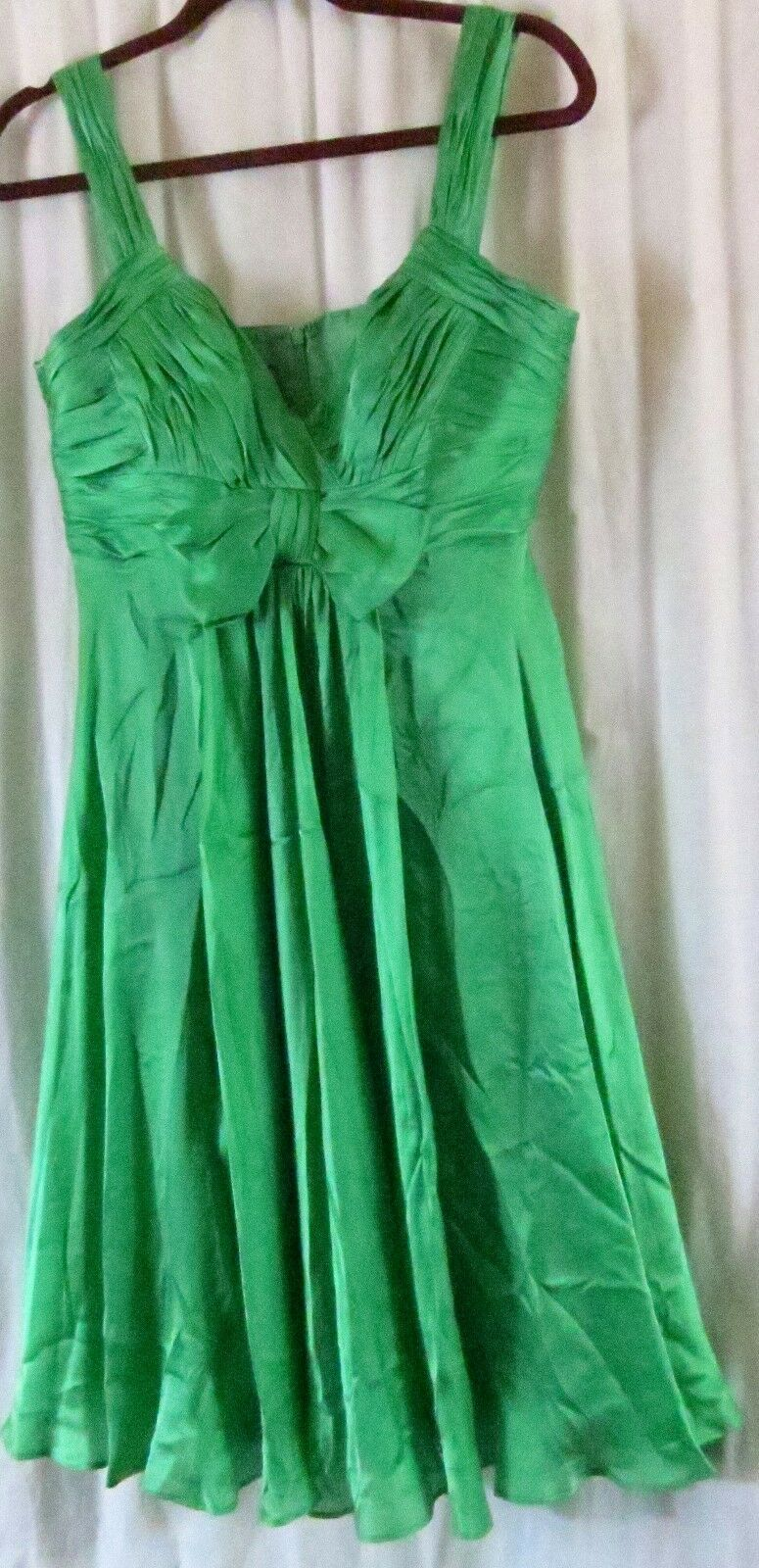 Anne Klein Dress 10 Green Strap V Neck Knee Length Cocktail Party Silk