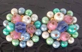 Vintage 1960's Pastel Bead Cluster Clip-On Earrings - $7.59