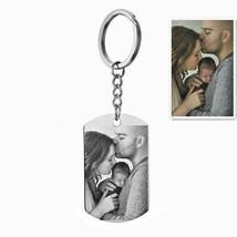 Custom DIY Tag Photo Keychain Stainless Steel Engraved Photograph Keychain - $12.92