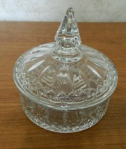 Indiana Glass Princess Diamond Pattern Clear Candy Box Candy Dish with Lid  - $19.79