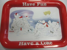 "Coca Cola Rectangle Metal Tray Polar Bear ""Let's Play"" - New - Replica C... - $13.37"