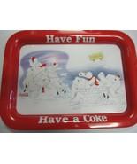 """Coca Cola Rectangle Metal Tray Polar Bear """"Let's Play"""" - New - Replica C... - $13.37"""