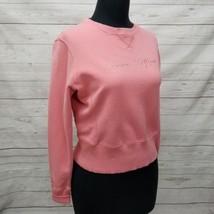 Tommy Hilfiger Womens L Pink Cropped Crop Rhinestone Detail Sweatshirt S... - $28.04
