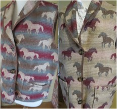 VTG WOOLRICH Women Southwestern Blanket Vest Reversible Horses Wool Blend USA ml - $27.72