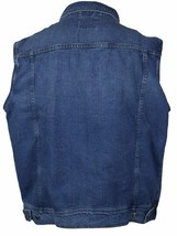 Wacky Jeans Men's Classic Premium Cotton Button Up Denim Jean Vest Blue image 2