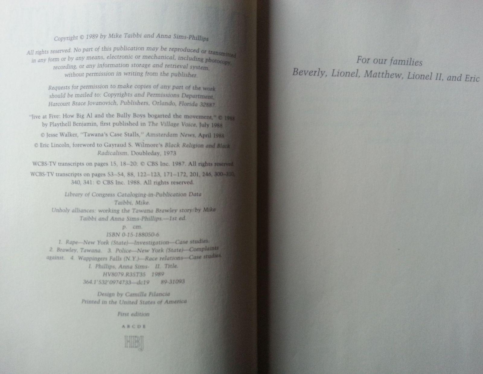 Unholy Alliances by Mike Taibbi 1989 HBDJ Tawana Brawley